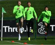 3 September 2018; James McClean, left, Jeff Hendrick and Alan Judge, right, during Republic of Ireland squad training at the FAI National Training Centre in Abbotstown, Dublin. Photo by Stephen McCarthy/Sportsfile