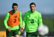 3 September 2018; Seamus Coleman, right, and Enda Stevens during Republic of Ireland squad training at the FAI National Training Centre in Abbotstown, Dublin. Photo by Stephen McCarthy/Sportsfile