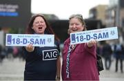3 September 2018; Dublin supporters Lisa Rafferty, left, from Raheny, and Angela Layden, from Coolock, during the Dublin All-Ireland Football Winning team homecoming at Smithfield in Dublin. Photo by David Fitzgerald/Sportsfile