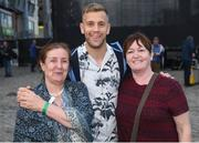 3 September 2018; Dublin supporters Anne Harte, left, and Mary Byrne, from Baldoyle, with Dublin footballer Jonny Cooper during the Dublin All-Ireland Football Winning team homecoming at Smithfield in Dublin. Photo by David Fitzgerald/Sportsfile