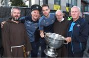 3 September 2018; Fr Bryan Shorthall, left, with, from left to right, Dublin footballers, Ciarán Kilkenny, Dean Rock, Brother Kevin Crowley and Jimmy Gavin, father of Dublin manager Jim Gavin, during the Dublin All-Ireland Football Winning team homecoming at Smithfield in Dublin. Photo by David Fitzgerald/Sportsfile