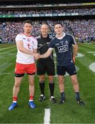 2 September 2018; Referee Conor Lane with Dublin captain Stephen Cluxton and Tyrone captain Mattie Donnelly prior to the GAA Football All-Ireland Senior Championship Final match between Dublin and Tyrone at Croke Park in Dublin. Photo by Ray McManus/Sportsfile
