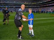 2 September 2018; Referee Conor Lane is presented with the match ball by Mark Butler, Bayside NS, Dublin, before the GAA Football All-Ireland Senior Championship Final match between Dublin and Tyrone at Croke Park in Dublin. Photo by Ray McManus/Sportsfile