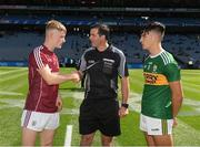 2 September 2018; The captains, Paul O'Shea of Kerry and Conor Raftery of Galway, with referee Sean Hurson before the Electric Ireland GAA Football All-Ireland Minor Championship Final match between Kerry and Galway at Croke Park in Dublin Photo by Ray McManus/Sportsfile