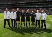 2 September 2018; Referee Conor Lane, his sideline official Sean Laverty, linesman Paddy Neilan, Linesman and standby referee David Gough and his Umpires John Joe Lane, DJ O'Sullivan, Ray Hegarty and Pat Kelly prior to the GAA Football All-Ireland Senior Championship Final match between Dublin and Tyrone at Croke Park in Dublin. Photo by Ray McManus/Sportsfile