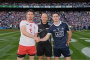 2 September 2018; Referee Conor Lane with, left, Tyrone captain Mattie Donnelly and Dublin captain Stephen Cluxton prior to the GAA Football All-Ireland Senior Championship Final match between Dublin and Tyrone at Croke Park in Dublin. Photo by Ray McManus/Sportsfile