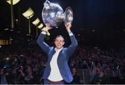 3 September 2018; Paul Mannion with the Sam Maguire Cup during the Dublin All-Ireland Football Winning team homecoming at Smithfield in Dublin. Photo by David Fitzgerald/Sportsfile