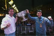 3 September 2018; Michael Darragh Macauley, left, and Bernard Brogan with the Sam Maguire Cup during the Dublin All-Ireland Football Winning team homecoming at Smithfield in Dublin. Photo by David Fitzgerald/Sportsfile