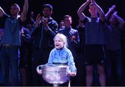 3 September 2018; Ella O'Gara, age 7, daughter of Eoghan O'Gara, with the Sam Maguire Cup during the Dublin All-Ireland Football Winning team homecoming at Smithfield in Dublin. Photo by David Fitzgerald/Sportsfile