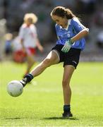 2 September 2018; Nicole Kindlon, Scoil Bhríde Mullaghrafferty, Co Monaghan, representing Dublin, during the INTO Cumann na mBunscol GAA Respect Exhibition Go Games at the Electric Ireland GAA Football All-Ireland Minor Championship Final match between Kerry and Galway at Croke Park in Dublin. Photo by Piaras Ó Mídheach/Sportsfile