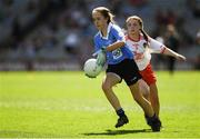 2 September 2018; Nicole Kindlon, Scoil Bhríde Mullaghrafferty, Co Monaghan, representing Dublin, in action against Sian McManus, Bunscoil Phobail Feirste, Belfast, Co Antrim, representing Tyrone, during the INTO Cumann na mBunscol GAA Respect Exhibition Go Games at the Electric Ireland GAA Football All-Ireland Minor Championship Final match between Kerry and Galway at Croke Park in Dublin. Photo by Piaras Ó Mídheach/Sportsfile