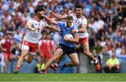 2 September 2018; Paul Mannion of Dublin in action against Pádraig Hampsey, left, and Tiernan McCann of Tyrone during the GAA Football All-Ireland Senior Championship Final match between Dublin and Tyrone at Croke Park in Dublin. Photo by Piaras Ó Mídheach/Sportsfile