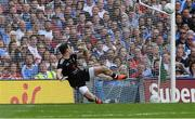 2 September 2018; Tyrone goalkeeper Niall Morgan is beaten by Paul Mannion's kick from the penalty spot in the first half during the GAA Football All-Ireland Senior Championship Final match between Dublin and Tyrone at Croke Park in Dublin. Photo by Piaras Ó Mídheach/Sportsfile