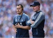 2 September 2018; Dublin Manager Jim Gavin, right, and his assistant Jason Sherlock during the GAA Football All-Ireland Senior Championship Final match between Dublin and Tyrone at Croke Park in Dublin. Photo by Oliver McVeigh/Sportsfile