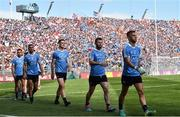 2 September 2018; Niall Scully, James McCarthy, Brian Fenton, Jack McCaffrey and Jonny Cooper of Dublin parade in front of the hill before the GAA Football All-Ireland Senior Championship Final match between Dublin and Tyrone  at Croke Park in Dublin. Photo by Oliver McVeigh/Sportsfile