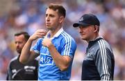 2 September 2018; Dublin Manager Jim Gavin with Cormac Costello of Dublin as he waits to come on the field as a substitute during the GAA Football All-Ireland Senior Championship Final match between Dublin and Tyrone  at Croke Park in Dublin. Photo by Oliver McVeigh/Sportsfile