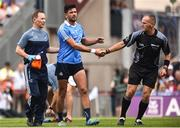 2 September 2018; Referee Conor Lane shakes hands with the injured Cian O'Sullivan of Dublin before leaving the field during the GAA Football All-Ireland Senior Championship Final match between Dublin and Tyrone at Croke Park in Dublin. Photo by Oliver McVeigh/Sportsfile