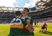 2 September 2018; Dylan Geaney of Kerry, right, celebrates after the Electric Ireland GAA Football All-Ireland Minor Championship Final match between Kerry and Galway at Croke Park in Dublin. Photo by Piaras Ó Mídheach/Sportsfile