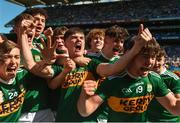 2 September 2018; Séan Quilter of Kerry, centre, celebrates after the Electric Ireland GAA Football All-Ireland Minor Championship Final match between Kerry and Galway at Croke Park in Dublin. Photo by Piaras Ó Mídheach/Sportsfile