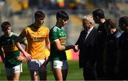 2 September 2018; Paul O'Shea of Kerry shakes hands with Munster Council chairman Jerry O'Sullivan before the Electric Ireland GAA Football All-Ireland Minor Championship Final match between Kerry and Galway at Croke Park in Dublin. Photo by Piaras Ó Mídheach/Sportsfile