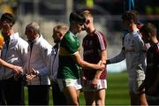 2 September 2018; Paul O'Shea of Kerry shakes hands with Donie Halloran of Galway before the Electric Ireland GAA Football All-Ireland Minor Championship Final match between Kerry and Galway at Croke Park in Dublin. Photo by Piaras Ó Mídheach/Sportsfile