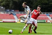 4 September 2018; Danny Grant of Bohemians in action against Neill Byrne of St Patrick's Athletic during the SSE Airtricity League U19 Enda McQuill Cup Final match between St. Patrick's Athletic and Bohemians at Richmond Park in Inchicore, Dublin. Photo by Sam Barnes/Sportsfile