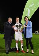 4 September 2018; Andy Lyons of Bohemians is presented with Enda McQuill Cup by Eamon Naughton, Chairman of the National Leagues Executive Committee, and Ruth Ryan, Marketing Specialist of SEE Airtricity, following the SSE Airtricity League U19 Enda McQuill Cup Final match between St. Patrick's Athletic and Bohemians at Richmond Park in Inchicore, Dublin. Photo by Sam Barnes/Sportsfile