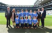 2 September 2018; INTO President Joe Killeen, President of the LGFA Máire Hickey, Chairman of Cumann na mBunscol Liam McGee, and Uachtarán Chumann Lúthchleas Gael John Horan, with the Dublin team, back row, left to right, Ned Langton, St Colman's NS, Clara, Co Kilkenny, Cian O'Brien, Scoil Mhuire, Tallow, Co Waterford, Evan Moynihan, St Mary's BNS, Rathfarnham, Co Dublin, Conal Ó Riain, Gaelscoil Thaobh na Coille, Stepaside, Co Dublin, Conor Fox, Tubber NS, Co Offaly, front row, left to right, James Hurley, Rathkeevin NS, Clonmel, Co Tipperary, Matthew Fisher, Scoil Naomh Iosaf, Baltinglass, Co Wicklow, Alex Craig, Scoil Naomh Eoin, Killenard, Co Laois, Brian Mulvey, Colehill NS, Co Longford, Darragh Booth, Scoil Mhuire, Newbridge, Co Kildare, ahead of the INTO Cumann na mBunscol GAA Respect Exhibition Go Games at the Electric Ireland GAA Football All-Ireland Minor Championship Final match between Kerry and Galway at Croke Park in Dublin. Photo by Daire Brennan/Sportsfile