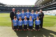 2 September 2018; Mini-Games co-ordinator Gerry O'Meara, with the Dublin team, back row, left to right, Ned Langton, St Colman's NS, Clara, Co Kilkenny, Cian O'Brien, Scoil Mhuire, Tallow, Co Waterford, Evan Moynihan, St Mary's BNS, Rathfarnham, Co Dublin, Conal Ó Riain, Gaelscoil Thaobh na Coille, Stepaside, Co Dublin, Conor Fox, Tubber NS, Co Offaly, front row, left to right, James Hurley, Rathkeevin NS, Clonmel, Co Tipperary, Matthew Fisher, Scoil Naomh Iosaf, Baltinglass, Co Wicklow, Alex Craig, Scoil Naomh Eoin, Killenard, Co Laois, Brian Mulvey, Colehill NS, Co Longford, Darragh Booth, Scoil Mhuire, Newbridge, Co Kildare, ahead of the INTO Cumann na mBunscol GAA Respect Exhibition Go Games at the Electric Ireland GAA Football All-Ireland Minor Championship Final match between Kerry and Galway at Croke Park in Dublin. Photo by Daire Brennan/Sportsfile