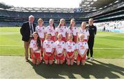 2 September 2018; Mini-games co-ordinator Gerry O'Meara with the Tyrone team, back row, left to right, Kaci Brazil, Clonea-Power NS, Carrick-on-Suir, Co Waterford, Rianne Smith, Rathcormac NS, Drumcliffe, Co Sligo, Ciara O'Brien, Oven NS, Co Cork, Grace Quinn, St John's P. Dernaflaw, Co Derry, Mae Langan, St Columba's PS, Clady, Co Tyrone, front row, left to right, Anna Murphy, Bansha NS, Co Tipperary, Sian McManus, Bunscoil Phobail Feirste, Belfast, Co Antrim, Síofra Hession, Gaelscoil de hÍde, Co Roscommon, Aoibhe Hoey, Jonesboro PS, Newry, Co Down, SinTad Levingstone, Crubany NS, Co Cavan, ahead of the INTO Cumann na mBunscol GAA Respect Exhibition Go Games at the Electric Ireland GAA Football All-Ireland Minor Championship Final match between Kerry and Galway at Croke Park in Dublin. Photo by Daire Brennan/Sportsfile