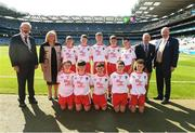 2 September 2018; INTO President Joe Killeen, President of the LGFA Máire Hickey, Chairman of Cumann na mBunscol Liam McGee, and Uachtarán Chumann Lúthchleas Gael John Horan, with the Tyrone team, back row, left to right, Stephen Curley, Corrandulla NS, Co Galway, Seán McGhee, Ballyvary Central, Castlebar, Co Mayo, Alan O'Connell, Dromahane NS, Mallow, Co Cork, Tomás Kennedy, Scoil Eoin, Balloonagh, Tralee, Co Kerry, Liam Murray, Gaelscoil na bhFál, Belfast, Co Antrim, front row, left to right, Eoghan Scott, Glenswilly NS, Letterkenny, Co Donegal, Ben McGrath, Ballyholland PS, Newry, Co Down, Dara Cullen, St John's PS Eglish, Co Armagh, Tom Ryan, Oola NS, Co Limerick, Tom Curran, Barefield NS, Ennis, Co Clare, ahead of the INTO Cumann na mBunscol GAA Respect Exhibition Go Games at the Electric Ireland GAA Football All-Ireland Minor Championship Final match between Kerry and Galway at Croke Park in Dublin. Photo by Daire Brennan/Sportsfile