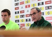 5 September 2018; Republic of Ireland manager Martin O'Neill, right, and Seamus Coleman during a Republic of Ireland press conference at Cardiff City Stadium in Cardiff, Wales. Photo by Stephen McCarthy/Sportsfile