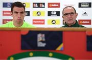5 September 2018; Republic of Ireland manager Martin O'Neill and captain Seamus Coleman during a press conference at Cardiff City Stadium in Cardiff, Wales. Photo by Stephen McCarthy/Sportsfile