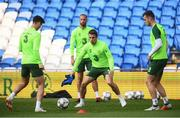 5 September 2018; Republic of Ireland players, from left, Callum O'Dowda, David Meyler, Seamus Coleman and Kevin Long during a training session at Cardiff City Stadium in Cardiff, Wales. Photo by Stephen McCarthy/Sportsfile