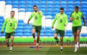 5 September 2018; Republic of Ireland players, from left, Enda Stevens, Conor Hourihane, Shaun Williams and Jonathan Walters during a Republic of Ireland training session at Cardiff City Stadium in Cardiff, Wales. Photo by Stephen McCarthy/Sportsfile