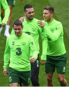 5 September 2018; Seamus Coleman, front left, Shane Duffy and Jeff Hendrick, right, during a Republic of Ireland training session at Cardiff City Stadium in Cardiff, Wales. Photo by Stephen McCarthy/Sportsfile