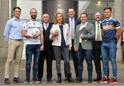 6 September 2018; Stephen Sheridan, graduated UUJ and Armagh footballer, Terence O'Brien, UUJ and Derry footballer, Garrett Duffy Ulster University GAA Academy, Professor  Raffaella Folli Provost of Belfast/Jordanstown campus of Ulster University, Matt Hoban, GPA Financial controller, Noel Connors, GPA National Education officer, Ronan Sheehan GPA National Executive Committee representative and Michael McKernan, UUJ and Tyrone footballer at the GPA/UUJ Enhanced Scholarships Announcement at the University of Ulster in Belfast, Co Antrim.  Photo by Oliver McVeigh/Sportsfile