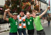 6 September 2018; Republic of Ireland supporters, from left, Ray Hyland, Darragh Twomey, David Cummins and Niall O'Donnell prior to the UEFA Nations League match between Wales and Republic of Ireland at the Cardiff City Stadium in Cardiff, Wales. Photo by Stephen McCarthy/Sportsfile