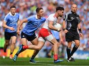 2 September 2018; Pádraig Hampsey of Tyrone is tackled by Michael Fitzsimons of Dublin during the GAA Football All-Ireland Senior Championship Final match between Dublin and Tyrone at Croke Park in Dublin. Photo by Brendan Moran/Sportsfile
