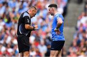 2 September 2018; Philip McMahon of Dublin has his name taken referee Conor Lane during the GAA Football All-Ireland Senior Championship Final match between Dublin and Tyrone at Croke Park in Dublin. Photo by Brendan Moran/Sportsfile