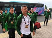 6 September 2018; Ciaran Clark, left, and Jonathan Walters of Republic of Ireland arrive to the stadium prior to the UEFA Nations League match between Wales and Republic of Ireland at the Cardiff City Stadium in Cardiff, Wales. Photo by Stephen McCarthy/Sportsfile