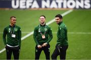 6 September 2018; Graham Burke, left, Alan Browne, centre, and John Egan of the Republic of Ireland prior to UEFA Nations League match between Wales and Republic of Ireland at the Cardiff City Stadium in Cardiff, Wales. Photo by Stephen McCarthy/Sportsfile