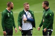 6 September 2018; David Meyler, left, James McClean, centre, and Kevin Long of the Republic of Ireland prior to UEFA Nations League match between Wales and Republic of Ireland at the Cardiff City Stadium in Cardiff, Wales. Photo by Stephen McCarthy/Sportsfile