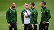 6 September 2018; David Meyler, left, James McClean, centre, and Kevin Long and Shane Duffy of the Republic of Ireland prior to UEFA Nations League match between Wales and Republic of Ireland at the Cardiff City Stadium in Cardiff, Wales. Photo by Stephen McCarthy/Sportsfile