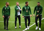 6 September 2018; David Meyler, left, James McClean, centre with Kevin Long and Shane Duffy of the Republic of Ireland prior to UEFA Nations League match between Wales and Republic of Ireland at the Cardiff City Stadium in Cardiff, Wales. Photo by Stephen McCarthy/Sportsfile