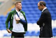 6 September 2018; Republic of Ireland manager Martin O'Neill and James McClean prior to UEFA Nations League match between Wales and Republic of Ireland at the Cardiff City Stadium in Cardiff, Wales. Photo by Stephen McCarthy/Sportsfile