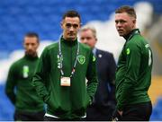 6 September 2018; Shaun Williams and Aiden O'Brien, right, of Republic of Ireland on the pitch prior to the UEFA Nations League match between Wales and Republic of Ireland at the Cardiff City Stadium in Cardiff, Wales. Photo by Stephen McCarthy/Sportsfile