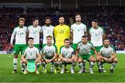 6 September 2018; Republic of Ireland team, back row from left, Callum Robinson, Stephen Ward, Cyrus Christie, Darren Randolph, Shane Duffy, Ciaran Clark, front row from left, Callum O'Dowda, Jeff Hendrick, Seamus Coleman, Jonathan Walters and Conor Hourihane prior to kick off of the UEFA Nations League match between Wales and Republic of Ireland at the Cardiff City Stadium in Cardiff, Wales. Photo by Stephen McCarthy/Sportsfile