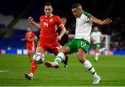 6 September 2018; Jonathan Walters of Republic of Ireland in action against Connor Roberts of Wales during the UEFA Nations League match between Wales and Republic of Ireland at the Cardiff City Stadium in Cardiff, Wales. Photo by Stephen McCarthy/Sportsfile