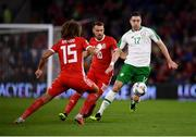 6 September 2018; Stephen Ward of Republic of Ireland in action against Tom Lawrence and Aaron Ramsey of Wales during the UEFA Nations League match between Wales and Republic of Ireland at the Cardiff City Stadium in Cardiff, Wales. Photo by Stephen McCarthy/Sportsfile